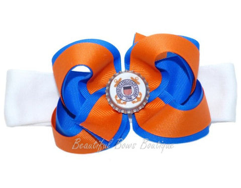 United States Coast Guard Girls Hair Bow Clip or Headband