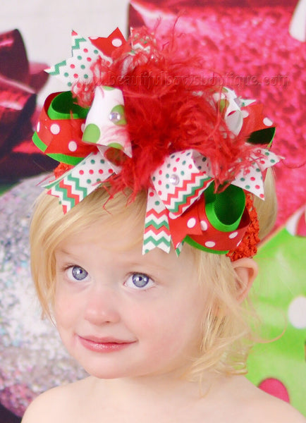 Trendy Chevron Dot Holiday Over the Top Girls Hair Bow Clip or Baby Headband