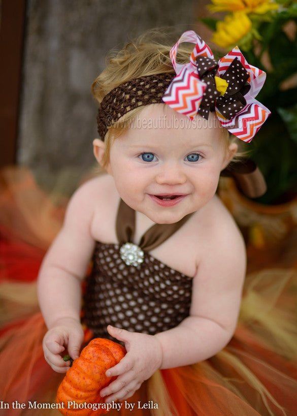 Autumn Fall Chevron Brown Orange Red Girls Hair Bow Clip or Headband