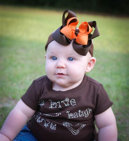Fall Brown and Orange Girls Hair Bow Clip or Headband