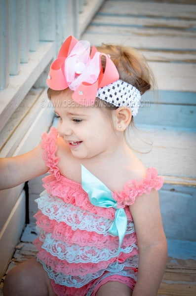 Buy Cute Coral Peach Sheer Bling Hair Bow Baby Headband for Girls Online