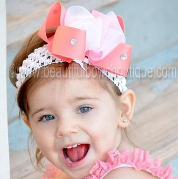 Cute Coral Peach Sheer Bling Hair Bow Baby Headband for Girls