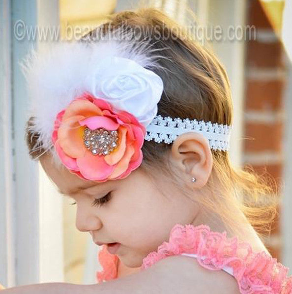 Coral White Satin Vintage Rose Feather Hair Clip or Lace Headband