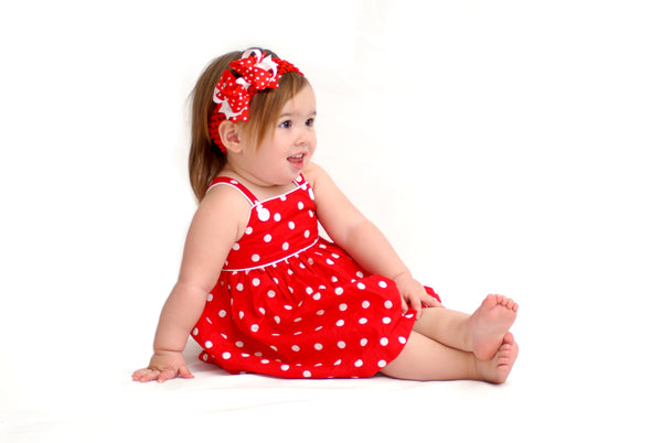 Dainty Red White Polka Layered Girls Hair Bow Clip or Headband Set