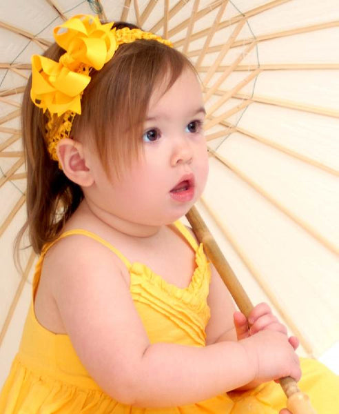 Buy Bright Yellow Infant Toddler Bow and Headband Online