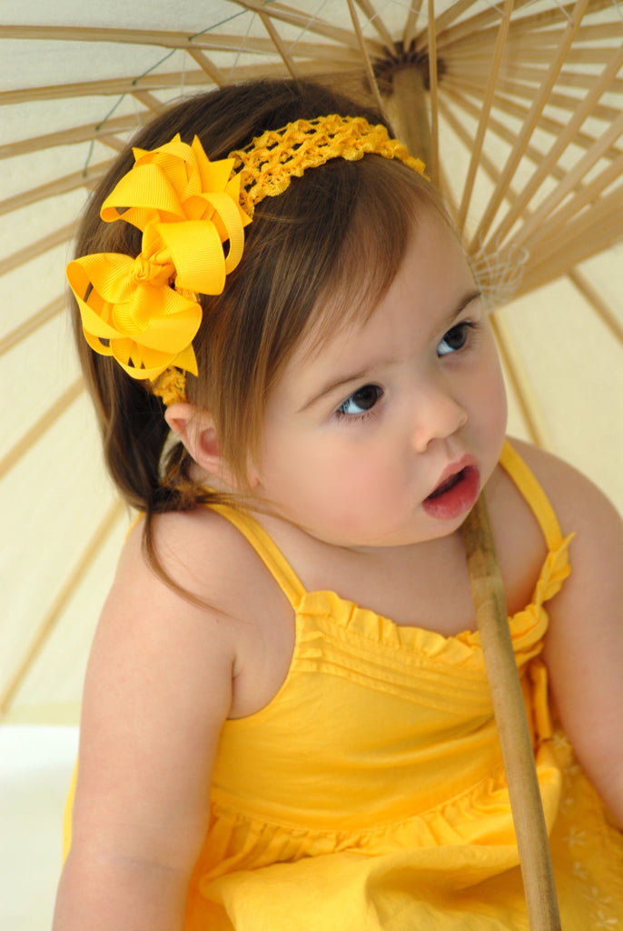 Bright Yellow Infant Toddler Bow and Headband