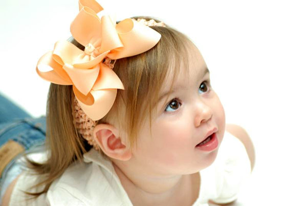 Large Double Peach Girls Hair Bow Clip Clip or Headband