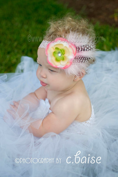 Buy Vintage Jewel Cream Rose Pink Sadie Feather Flower Clip or Girls White Lace Headband Online