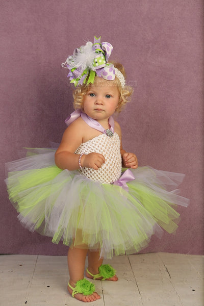 Green and Purple 1st Birthday Big Bow Tinkerbell Inspired