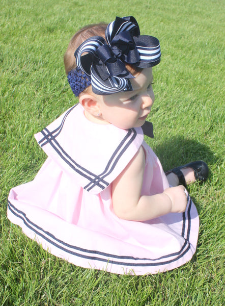 Buy Navy White Stripe Girls Hair Bow Clip or Headband Online