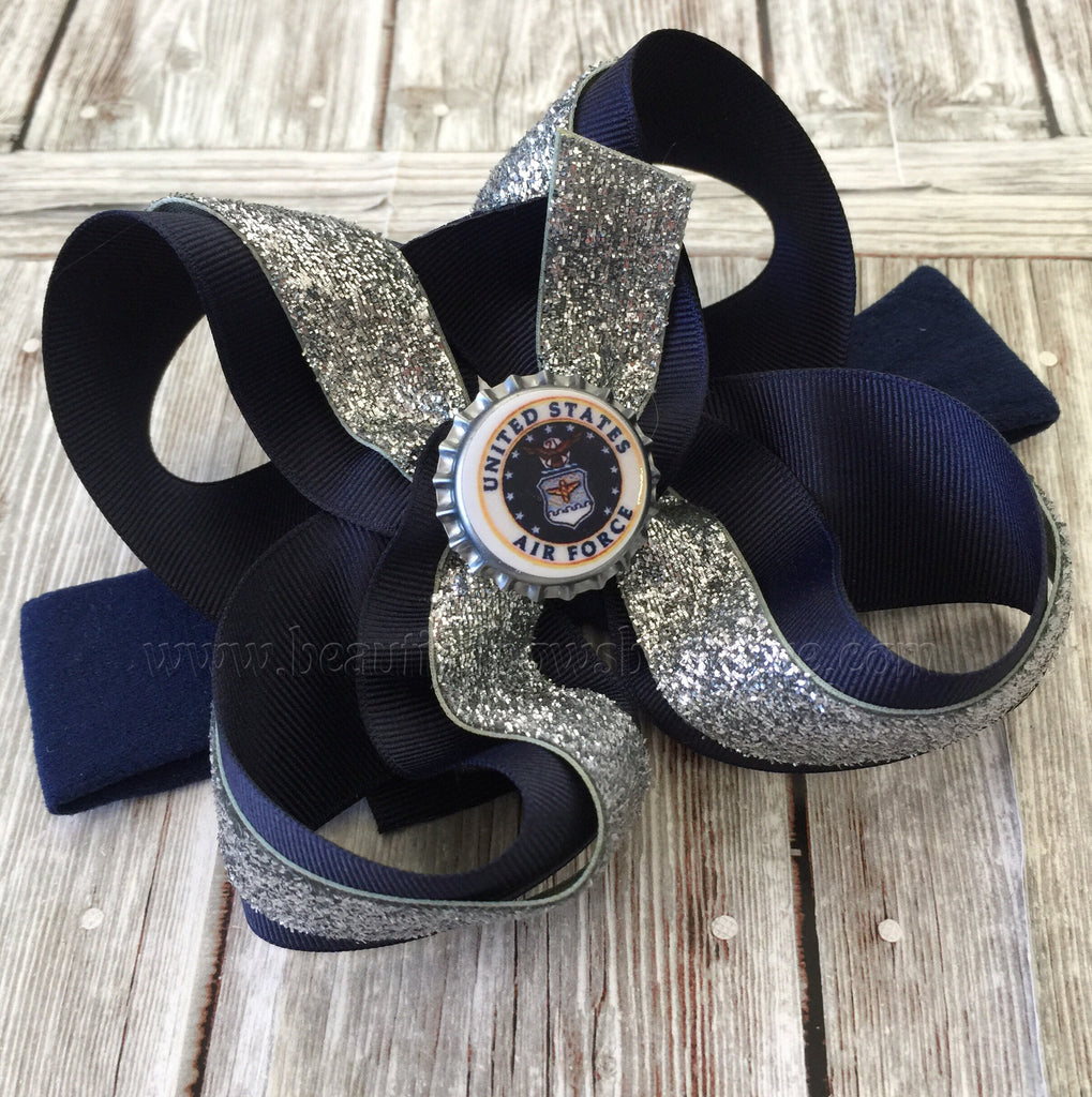 Air Force Military Girls Hair Bow Clip or Headband