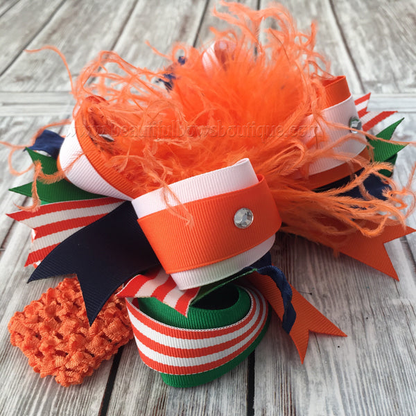 Buy Boutique Fall Hairbow Orange Green and Navy Blue Online