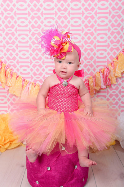 Orange Peach and Hot Pink Tutu Dress and Headband Set