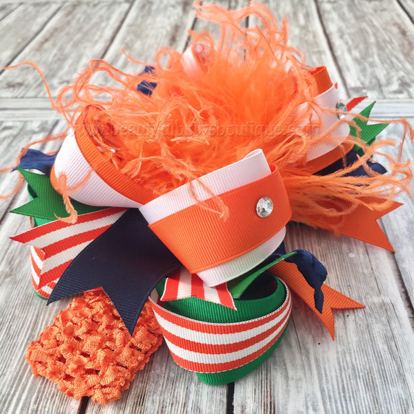Boutique Fall Hairbow Orange Green and Navy Blue