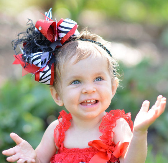 Zebra Big Boutique Red Black Over the Top Hair Bow or Baby Headband