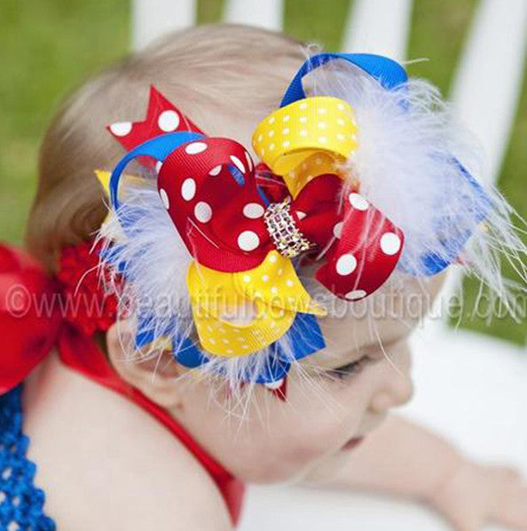 Fancy Snow White Girls Hair Bow Clip or Headband