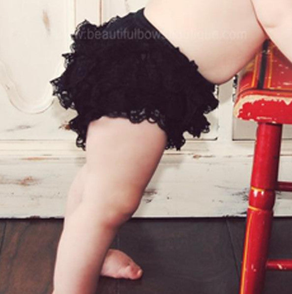 Girls Black Lace Ruffled Bloomers