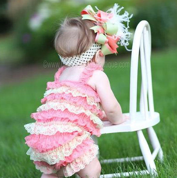 ddad362623af Buy Girls Coral and Mint Green Baby Romper Online at Beautiful Bows Boutique