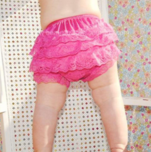 Girls Shocking Pink Lace Ruffled Bloomers