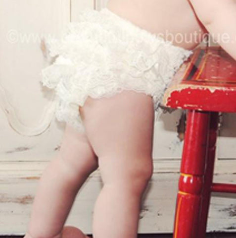 Girls Ivory Lace Ruffled Bloomers