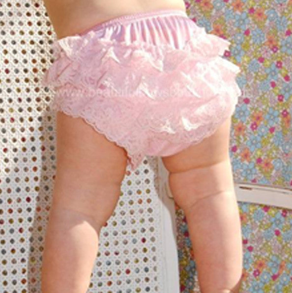 Girls Light Pink Lace Ruffled Bloomers