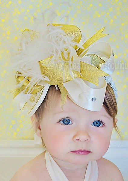 Ivory and Gold Hair Bow Over the Top, Gold and Ivory Baby Headband