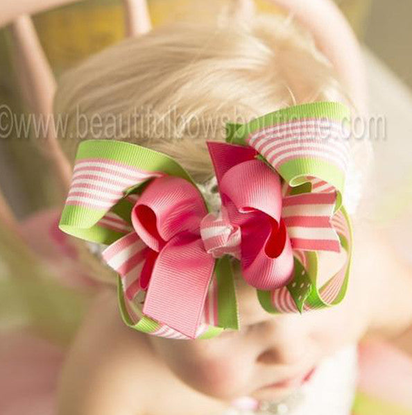 Green, Pink, Stripe Spike Girls Hair Bow Clip or Headband