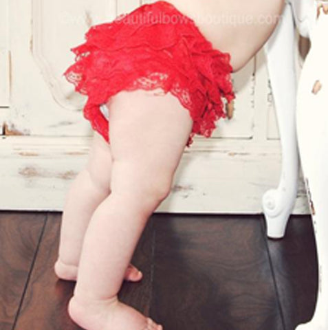 Girls Red Lace Ruffled Bloomers