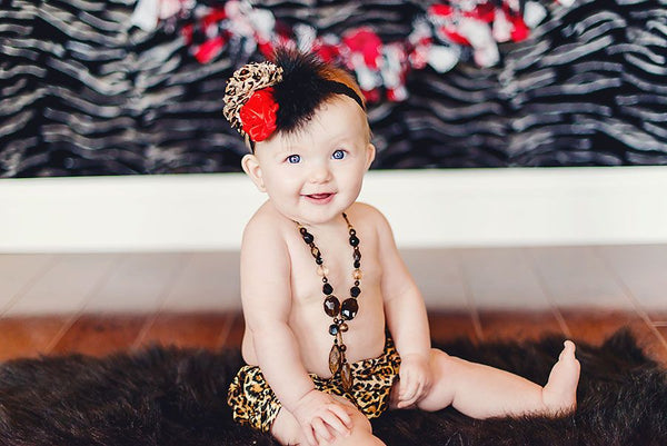 Baby Red Leopard Satin Rosette Flower Girls Lace Headband