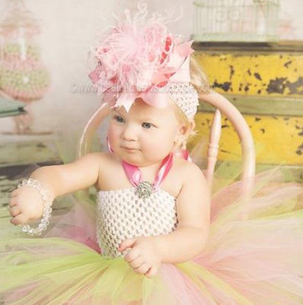 Fancy Hot Pink Lime Toddler Baby Girl Tutu Dress
