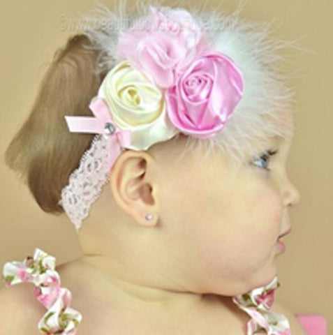 Jeweled Satin Ivory and Pink Chic Rose Vintage Infant Headband