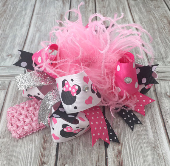 Buy Minnie Mouse Over the Top Hair Bow Pink and Black Online