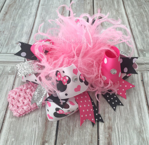 Minnie Mouse Over the Top Hair Bow Pink and Black