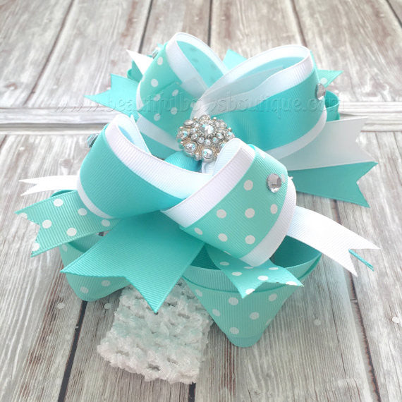 Over the Top Bow Aqua and White