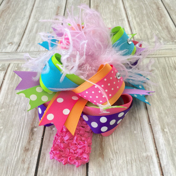 Sherbet Over the Top Hair Bow Rainbow 6 inches