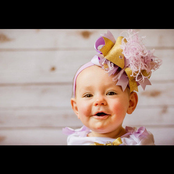Lavender and Gold Baby Headband Over the Top