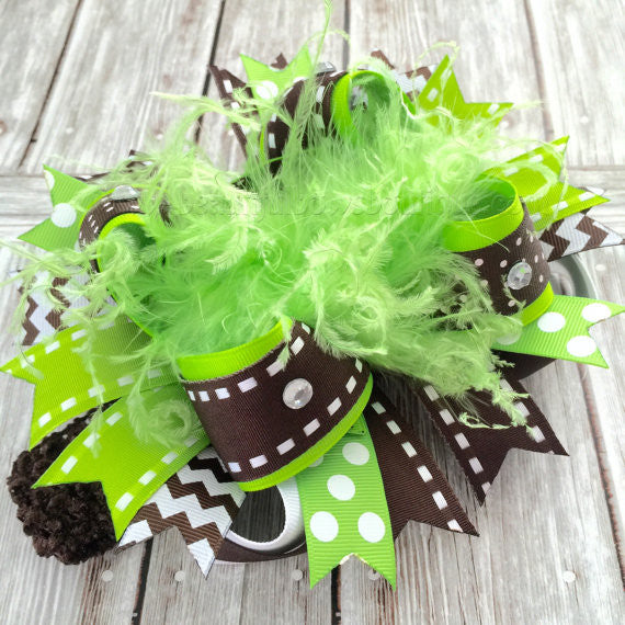 Fall Over the Top Hair Bow Headband Green and Brown