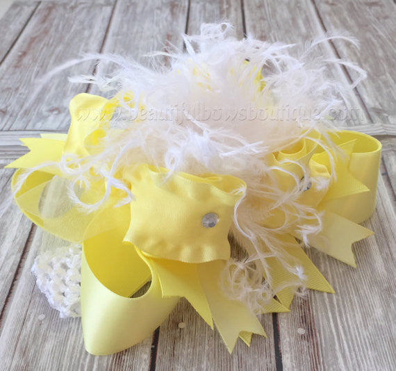 White and Yellow Over the Top Hair Bow