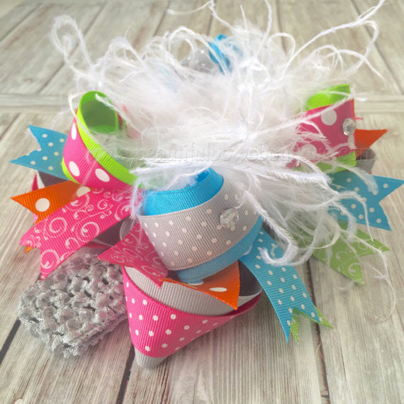 Over the Top Hair Bow Hot Pink Grey Turquoise Orange
