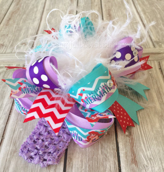 Big Hair Bow Little Mermaid Birthday