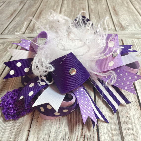 Over the Top Hair Bow Purple Shades