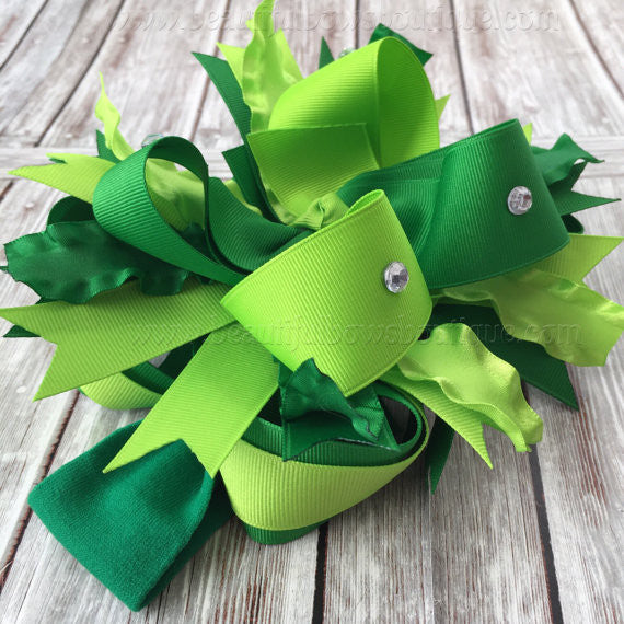 Green Boutique Over the Top Bow Lime Emerald