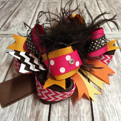 Fall Over the Top Hair Bow Pink Brown Orange Gold