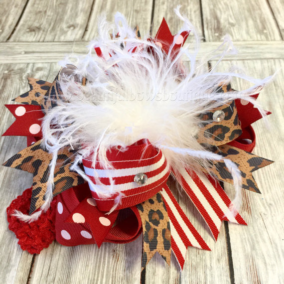 OTT Feather Baby Headband Christmas Red Leopard