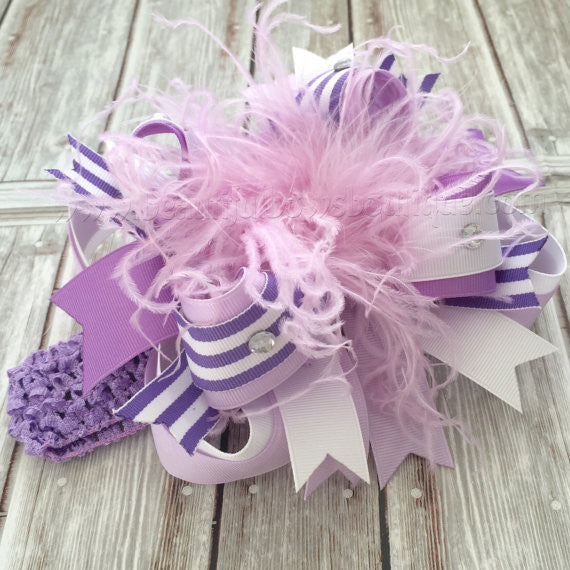 Over the Top Hair Bow Headband Orchid Lavender
