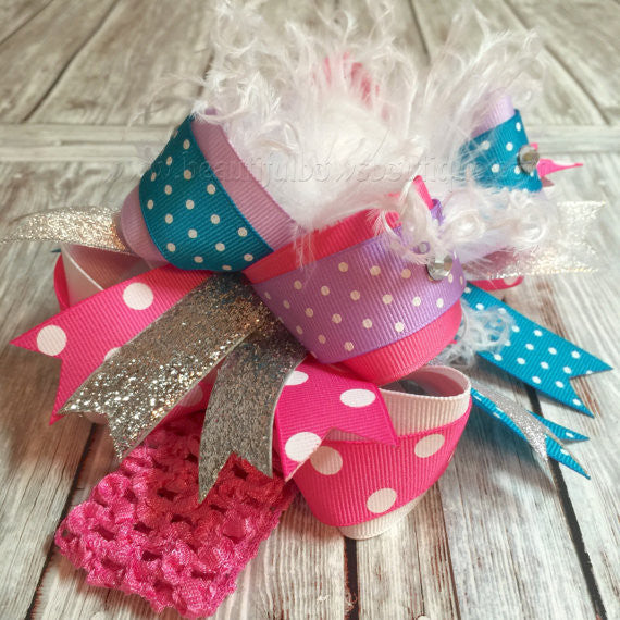 Over the Top Hair Bow Turquoise Pink Purple