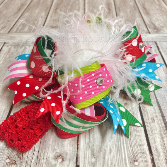 Holiday Over the Top Bow Red Green Pink Blue