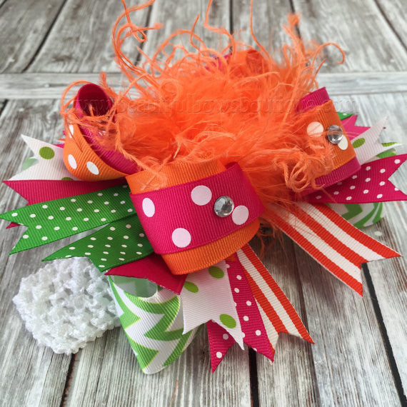 Buy Hot Pink Orange and Green Over the Top Bow,Fall Hairbow,Pink Green Orange Baby Headband,Baby Bow Pink Orange,Fall Green Orange Big Hair Bow Online