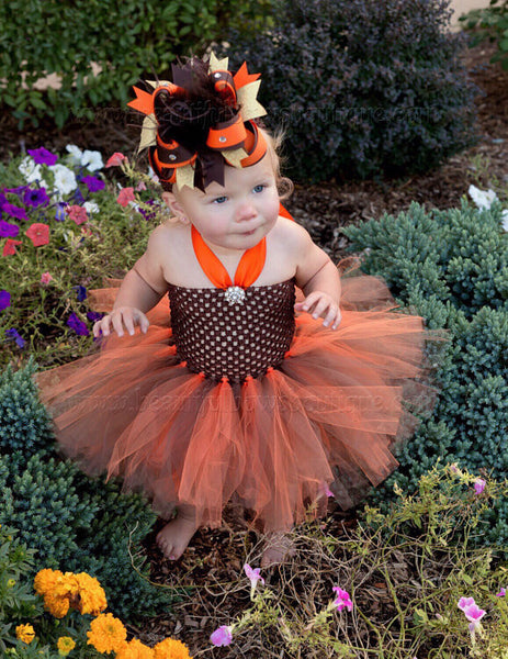 Buy Girls Brown and Orange Big Fall Hair Bow Stacked Online