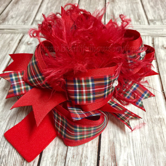 Buy Red Tartan Plaid Over The Top Hair Bow Scottish Online